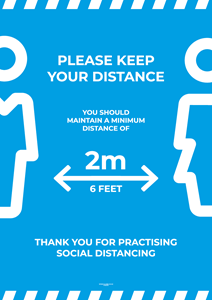 Laminated Posters - PLEASE KEEP YOUR DISTANCE - A3 [PK10] **SPECIAL NON-RETURNABLE**