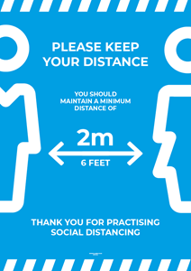 Laminated Posters - PLEASE KEEP YOUR DISTANCE - A4 [PK10] **SPECIAL NON-RETURNABLE**